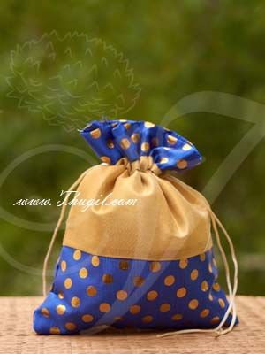 """10.5 x 8"""" Blue Potli Bag with wide golden lace Wedding Return Gift Buy Now"""