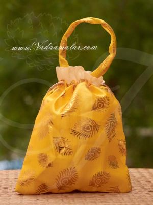10 x 8 Yellow Colour Potli Bag with wide golden lace Wedding Return Gift Buy Now