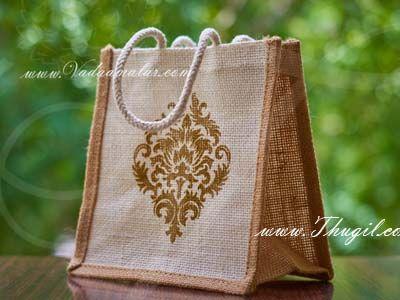 7 x 7 Ethnic Wedding Gift Jute Bag With Print Buy online