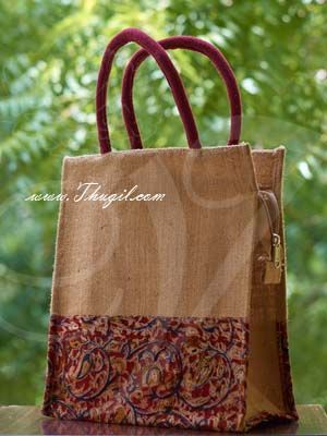 """12"""" Beautiful Elephant Jute Bags/ Pouches with Zip"""