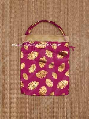 Return Gift Bag Pink Potli Bag with wide lace Buy Now 10 x 8