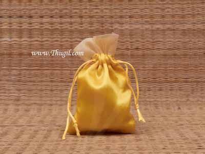 Wedding Return Gift Pouch Potli Bag Thamboolam Bags Yellow Colour - 6 x 4 Buy Now