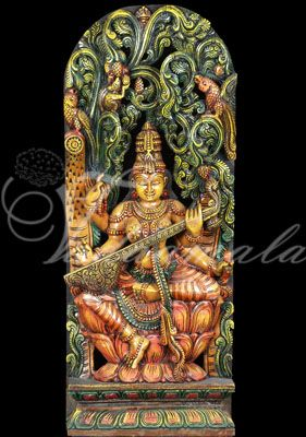 Beautiful Goddess Saraswathi Carvings Traditional stage screen Prints decorations India festival cultural gatherings