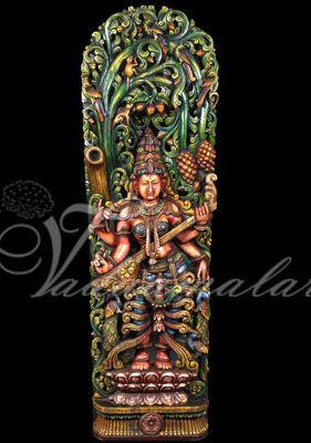 Goddess Saraswathi Carvings Traditional Backdrop Prints decorations India festival cultural gatherings
