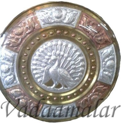 thanjavur Art Plate with peacock engraved for corporate gifts for guests and dancers