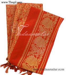 Orange Poly Cotton Zari Brocade Shawl Gift Stole for Guests Jacquard fabric wrap