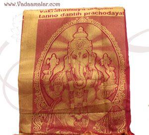 Ganesha Design Poly Cotton Zari Brocade Shawl Gift Stole for Guests Jacquard fabric wrap