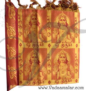 Lord Murugan Design Maroon Poly Cotton Zari Brocade Shawl Gift Stole for Guests Jacquard fabric wrap