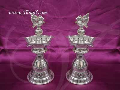 "German Silver Peacock Diya Vilakku Deepam Diya Buy Now- 7.5"", 2 pieces"