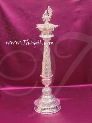 """German Silver Peacock Lamp Diya Mayil Vilakku Buy Now 21"""""""