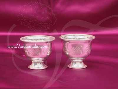 "German Silver Kungumam Chandan Cup Wedding Welcome Set Buy Now 2"""