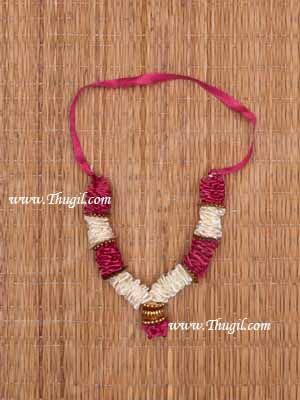 """4.5"""" Small size White with Pink Garlands Maala for Idol Statue Decorations Buy Now"""