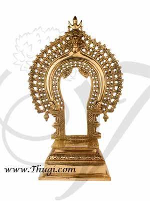 """15"""" Brass Prabhavali Thiruvachi Arch deity Back Stand Head Swamy Alankaram Buy Online"""