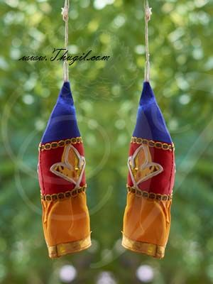 """7.5"""" Buy Thombai online Traditional India Stage Thombai  Temple Car decorations -2 pieces"""