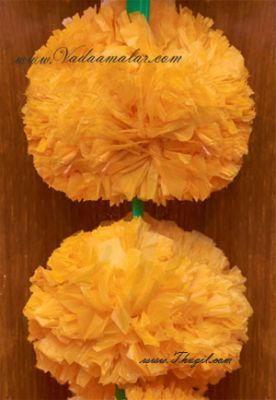 5 meter Artificial Yellow Marigold Samriddhi Fluffy Flowers For Decorations