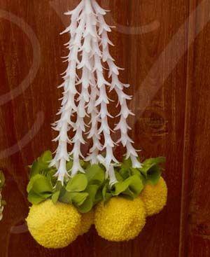 "12"" (2 pieces) Toran Kunjalam Door Tube Rose Strings with Samanthi Design Flower Decorative Wedding Mandap Buy Now"