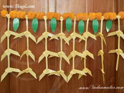 Traditional Auspicious coconut and Mango Leaves decoration toran toranam door hanging tapestry Buy Now