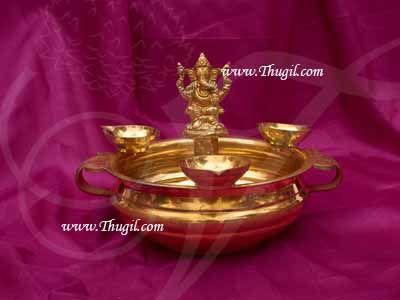 "Brass Ganesha Uruli Urli Flower Arrangement Pot Decoration Buy Now 6"""