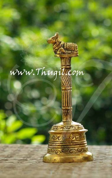 5.5 inch Brass Puja Bell Bells with Nandhi Design Buy Online India Mani
