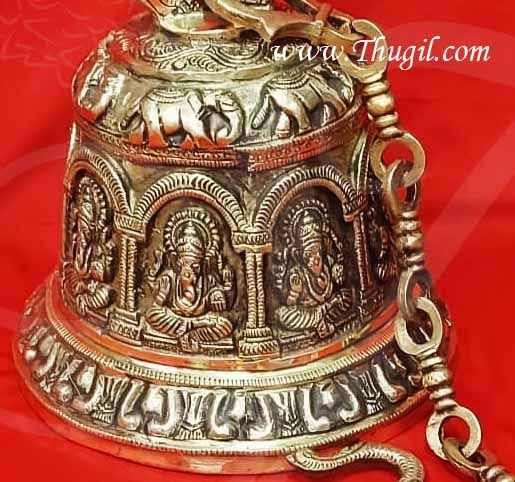 Brass Ganesha Bell With Chain Unique Indian Home Decor Buy Now 33