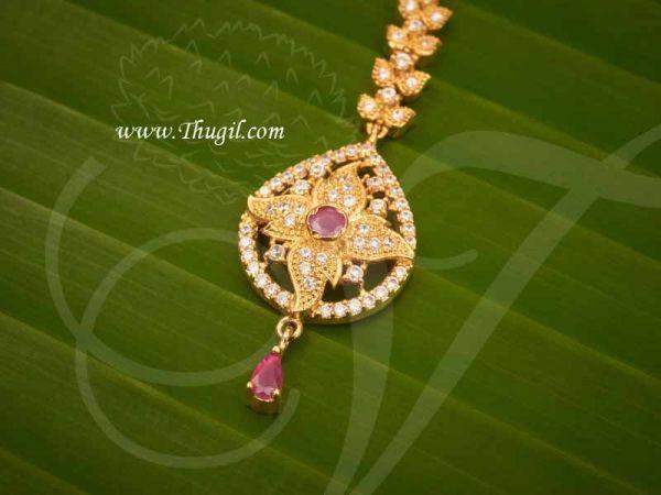 Chutti For Hindu Idol Maang Tikka Ruby Emerald  and AD Stones Buy Now
