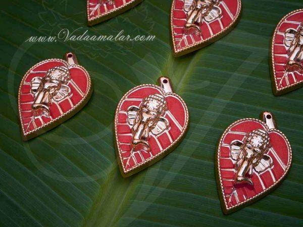 Ganesha on Leaf Decoration Art Pendent in Gold Finish Buy Online 6 pieces