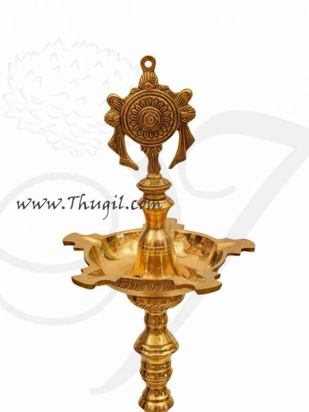Gold Plated Sangu Chakkaram Brass Diya Lamps Temple Buy Now - 2 pieces 48 inches / 4 feet