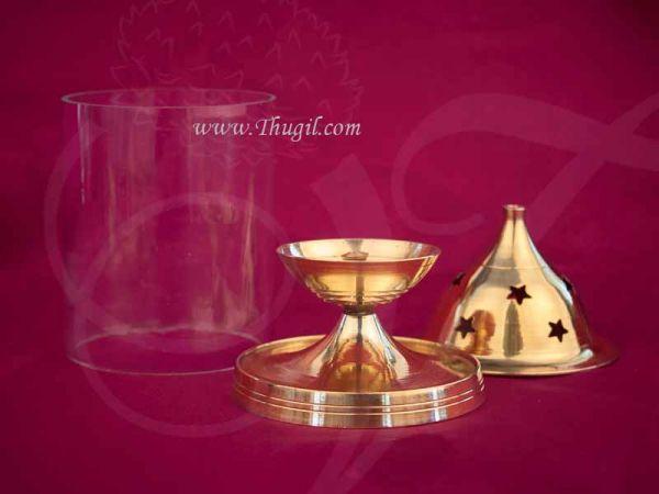 Nandadeep Diya Brass With Glass Akhand Deep Diyas Deepam Buy Online 6.5