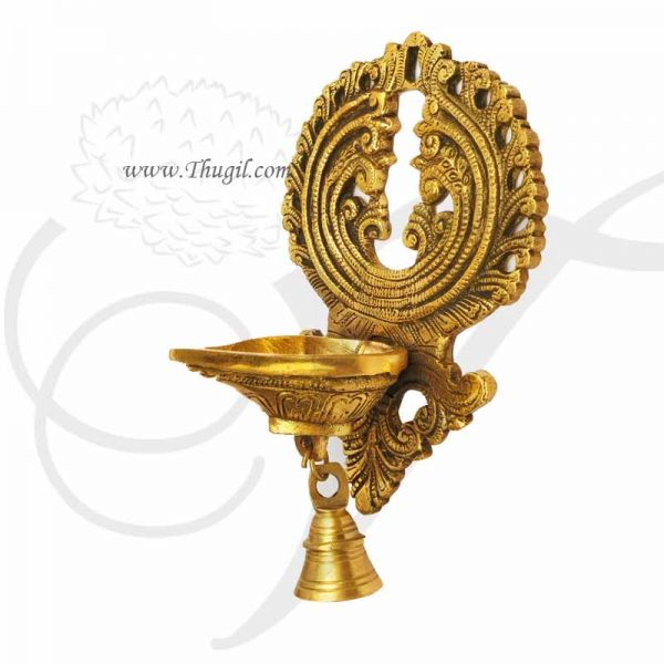 Brass  Wall Hanging Lamp Diya With Bell Buy Now 8