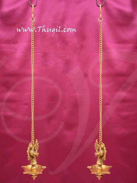 Peacock Hanging Brass Diya Antique design Deepam Lamp Buy Now 6