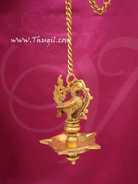 Peacock Hanging Brass Diya Antique design Deepam Lamp Buy Now 9