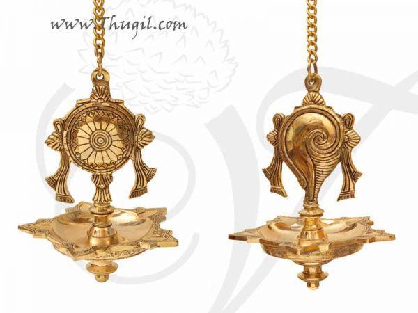 Shanku Chakra Diya Hanging Thongu Vilakku Brass Vinshu Deepam Buy Now 10