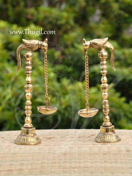Standing Brass Diya Vilakku Deepam with Parrot hanging diya stand 9