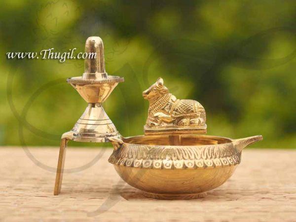 Brass Diya Lingam with Nandi Standing Vilakku Buy Now 4.5 inches