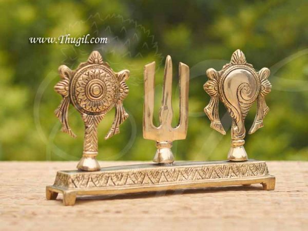 Brass Tirupati Balaji Shanku Chakra Naama Showcase Stand Buy Now 5.5 inches