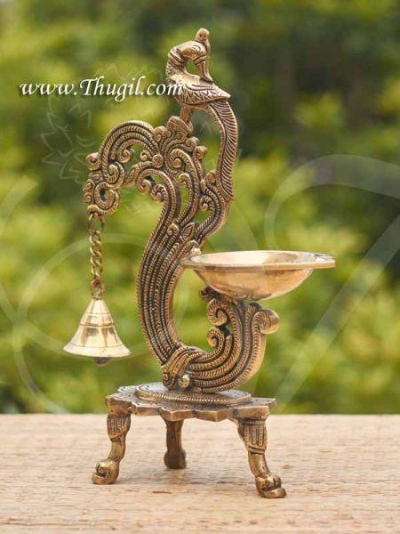 Brass Peacock Diya Lamp in Fine Finishing Home Decorative Vilakku Buy Now 12 inches