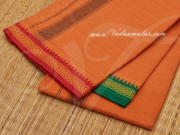 Hindu Puja Orange Cotton Dothi Vesti Chadar 2 meter Buy Now