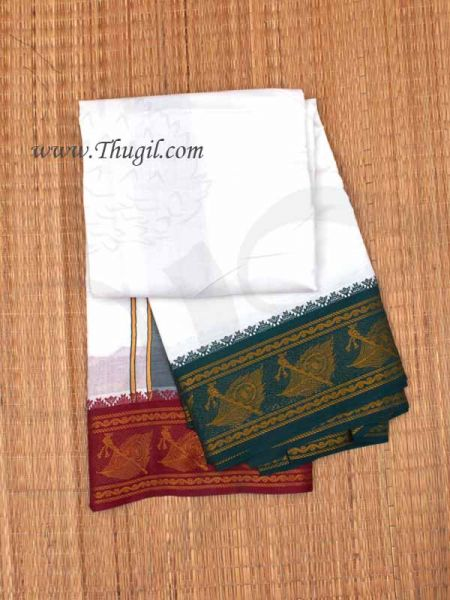 6.2 meters/ 9 x 5  Yards Traditional White Dhoti with Wide Border Pajakajam Buy