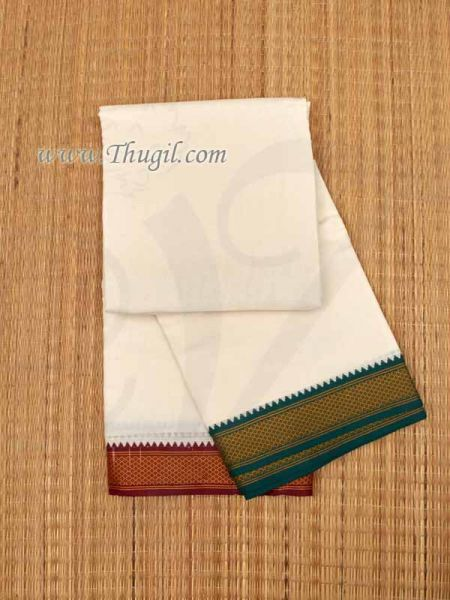 10 x 6  Yards Traditional White Dhoti Zari Border Mayil Kan Pajakajam Buy Now