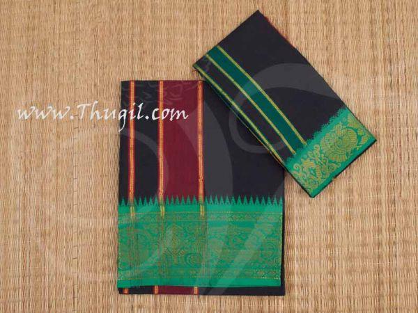 Black Dhoti Puja Vesti Cotton with Angavastram Ayyappan Buy Now 2 meter