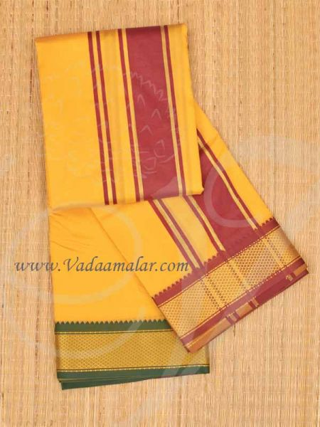 6.2 meters/ 9 x 5  yards Hindu Puja Yellow  Colour Cotton Dhoti Vesti Chadar