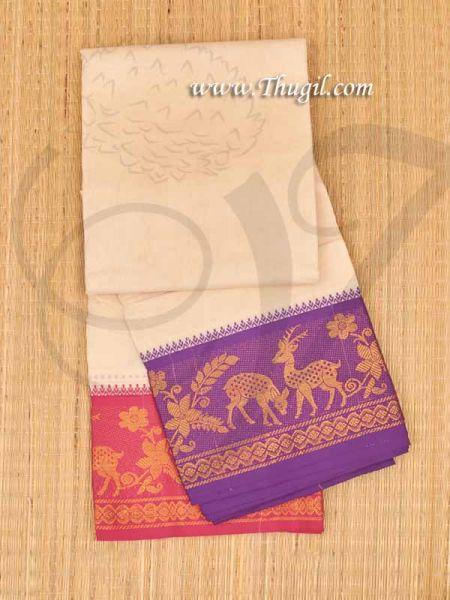 6.2 meters/ 9 x 5  yards Hindu Puja Half White Colour Cotton Dhoti Buy Now