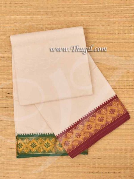 6.2 meters/ 9 x 5  yards Hindu Puja Ganapathy Half White Colour Cotton Dhoti Buy Now