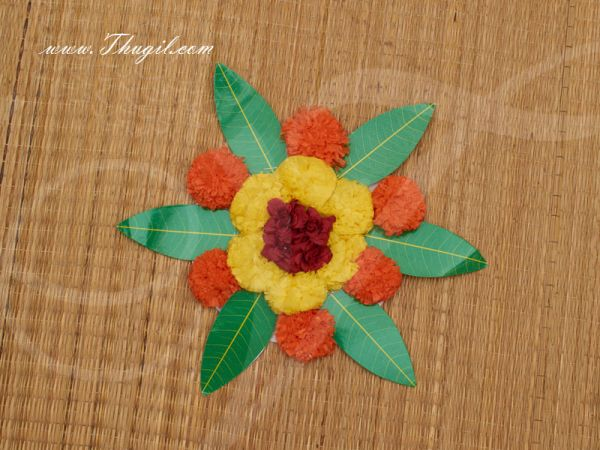 Round Artificial Marigold Flower Wedding Green Leaf mat for Home Decoration for Pooja 8