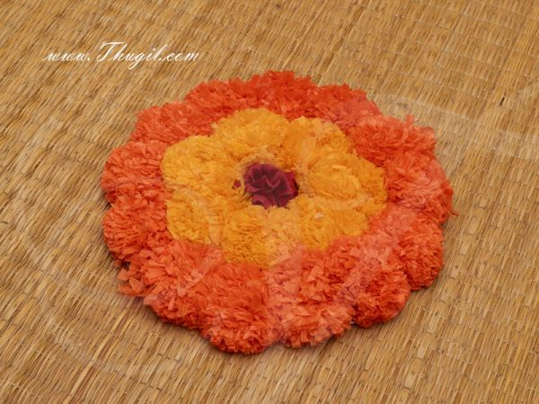 Round Artificial Genda Flower mat for Home Decoration and Craftfor Pooja 8