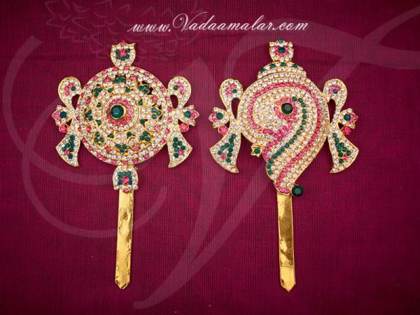 Shanku Chakra PERUMAL Vishnu Balaji Deity Ornament Decoration for Temple Buy Now 6