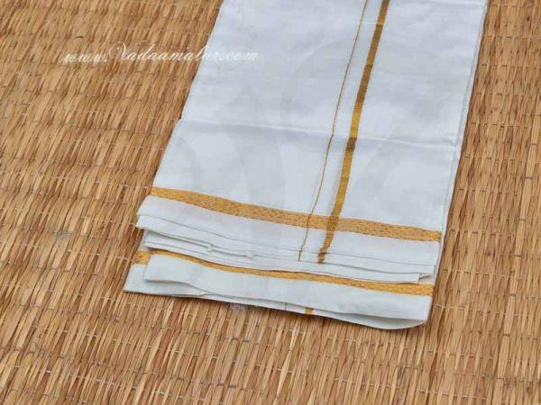 Pure Silk White Vastra Ganesha Vinayagar Silk Dhothi