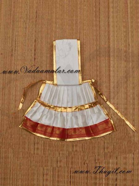 Buy Online Temple Statue Wear White Color Saree Skirt for Hindu  Deity