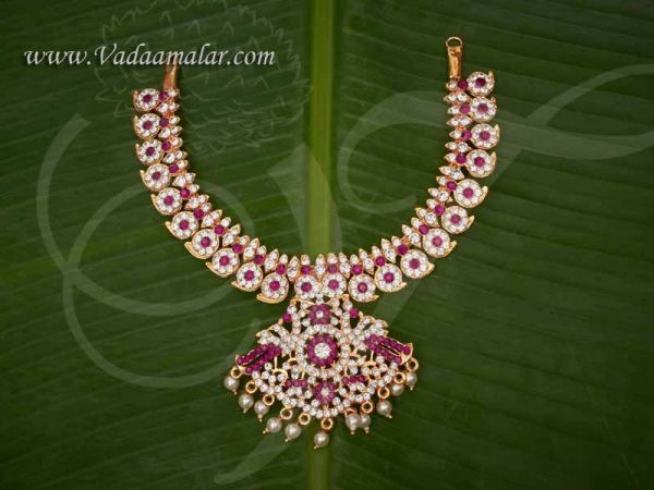 Haaram White with Pink 2 Step Necklace For Hindu Idol Ornaments Buy Now 12 Inches