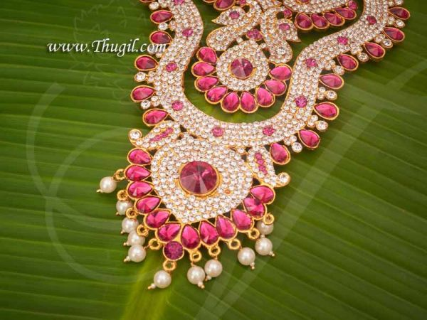 Haaram White with Pink 2 Step Necklace For Hindu Idol Ornaments Buy Now 8